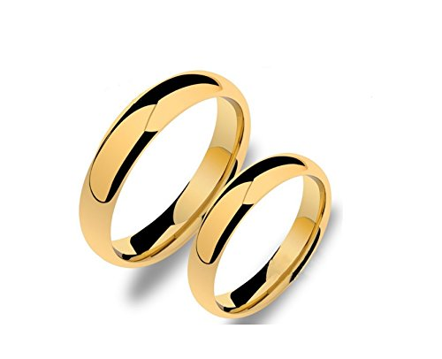 Magic Stones 18Ct Gold and Rhodium Coated Stainless Steel Elegant Couple Ring For Women & Men