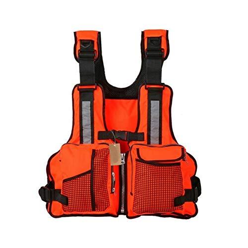 Schwimmweste Rettungswesten für Boote Angeln Schwimmweste Multi Taschen Schwimmwesten Erwachsene Schwimmweste für Wassersport Größenverstellbar Segeln Kajak Segeln Jacke Weste Rettungsjacke (Orange)