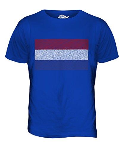 CandyMix Niederlande Kritzelte Flagge Herren T Shirt Königsblau
