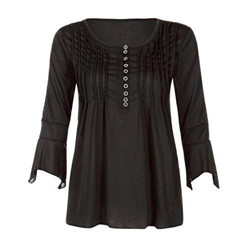 AmazingDays Femme Chemisiers T-Shirts Tops Sweats Blouses 3/4 Manchon Slim V Neck Buttons Chemisier Tops T-Shirt Black