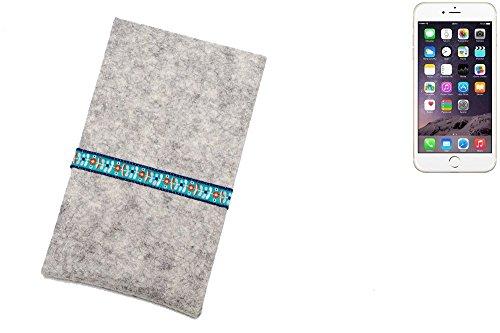 """flat.design Filzhülle """"Lisboa"""" für Apple iPhone 6s - passgenaue Handytasche aus 100% Wollfilz (anthrazit) - made in Germany Schutz Case für Apple iPhone 6s blaue Blumen - hellgrau"""