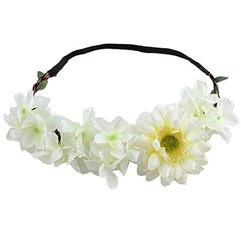 Zhhlinyuan Fashion fleurs Accessory Gift Women Fake Flowers Hair Dress Up Wedding Hairpin Headband Elastic Flowes Ring