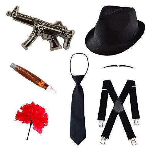 (Robelli Kinder Gangster Kostüm Satz Hut Fliege Hosenträger, Schnurrbart, Pistole, Zigarre & Nelke)