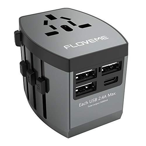 FLOVEME Universal Reiseadapter, Reiseadapter Mit 3 USB ladestecker + 1 TYP C Adapter + AC Steckdose Für Weltweit Reisen in US,UK,EU,AU 200+ Ländern - Grau