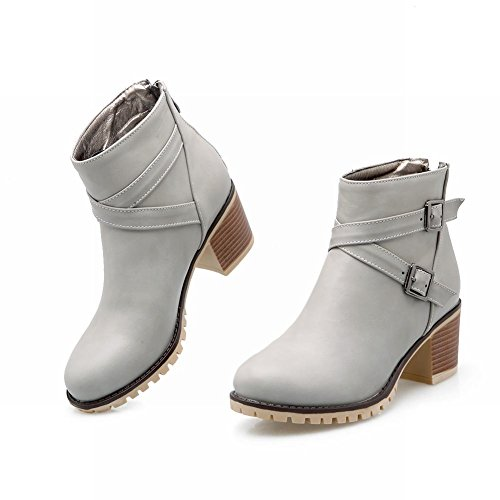Mee Shoes Damen Reißverschluss chunky heels Ankle Boots Grau