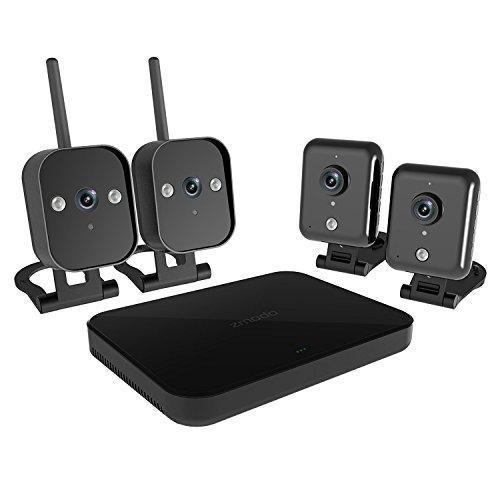 ZMODO FULL HD 1080P 4 Kanal NVR Kabelloses WLAN Überwachungssystem 4 Sicherheitskamera, 2x720P HD Überwachungskamera für Innen, 2xIP65 WiFi Kamera Wetterfest für Außen, ohne Festplatte, Schwarz