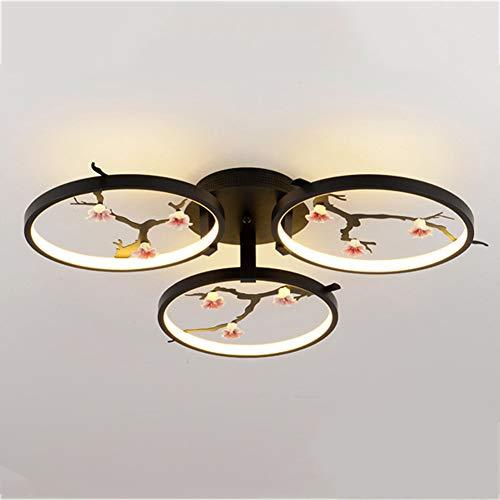 Deckenleuchte des Schlafzimmer-LED, moderne amerikanische halbbündige Berg-kreative Eisen-Keramik-Blumen-Beleuchtungs-Wohnzimmer-Lampe,3X19W -