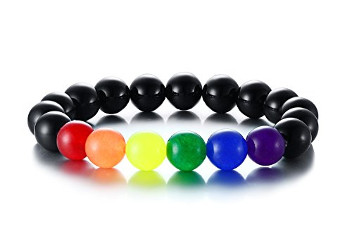 Vnox Handgemachte Regenbogen Perlen Schwarz Onyx Stein Armband LGBT Homosexuell & Lesben Pride