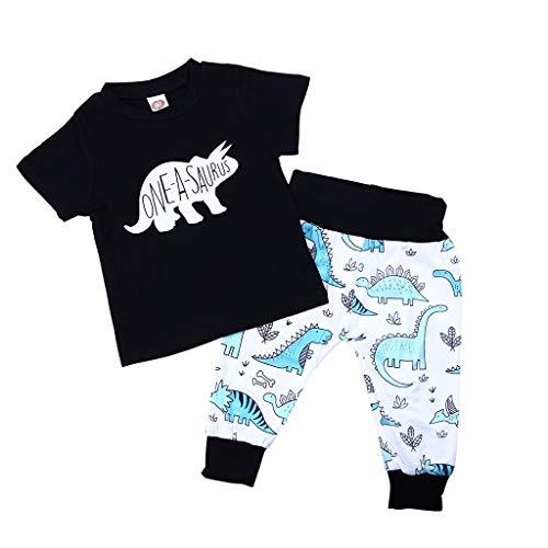 Zhen+ 2pcs Baby Kleidung Set Neutral Jungen Mädchen Rundhals Kurzarm Tshirt Bluse top + Hosen für 0-3 Jahre Baby Kinder Frühling-Sommer Baumwoll Casual Dinosaurier Druck Shirt-Pants Outfits Set