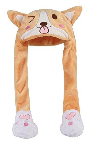 Cloud Kids Mädchen Cartoon Plüsch Mütze Tiermütze mit Bewegliche Ohren Hut für Kaneval Fasching Cosplay Farbe 4