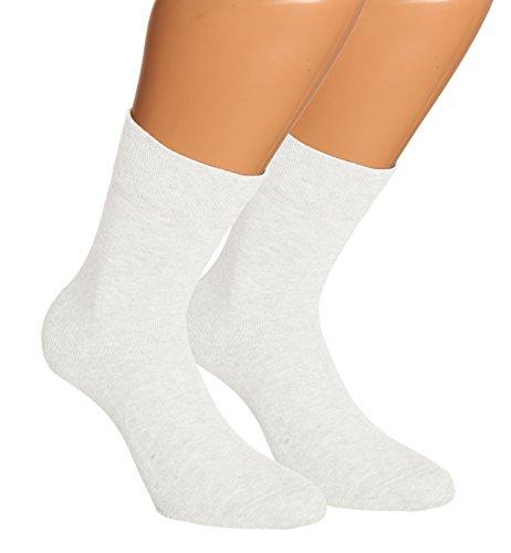 Vitasox 13309 Damen Wellness Socken Damensocken Baumwolle mit Frotteesohle einfarbig ohne Gummi weiß 6er Pack 35/38