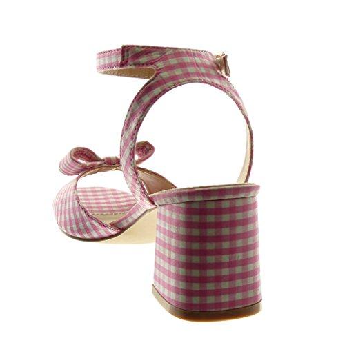 Angkorly Scarpe Moda Sandali Mules con Cinturino Alla Caviglia Donna a Scacchi Nodo Tanga Tacco a Blocco Alto 7 cm Rosa