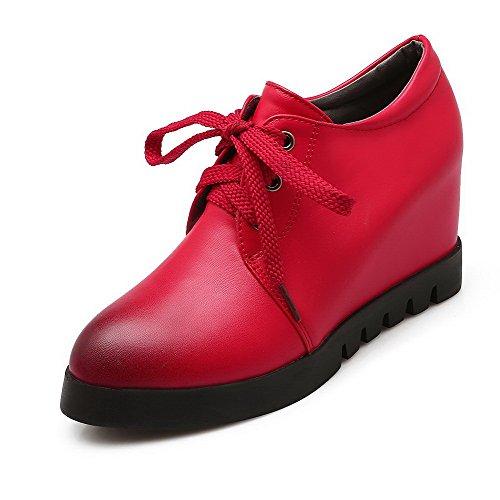 AllhqFashion Femme Lacet à Talon Haut Pu Cuir Couleur Unie Rond Chaussures Légeres Rouge