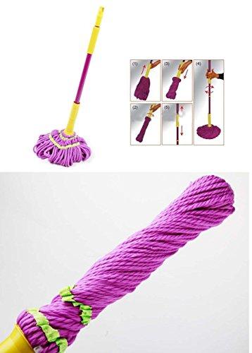 Takestop® scopa mocio auto-strizzante 130x9x9 cm rotante strizza facile in microfibra lava pavimenti polvere