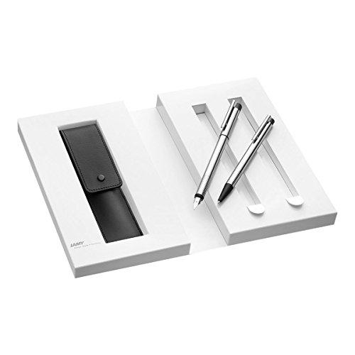 Lamy 1230493 Set Füllfederhalter mit Kugelschreiber und Lederetui und Geschenkverpackung M 005/205 matt, silber/schwarz