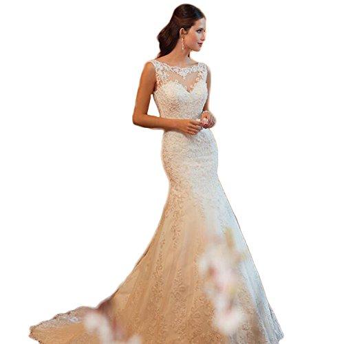 WeWind Damen Fishtail Brautkleid mit Spitze Tüll Rückenfreie Hochzeitskleider Schleppe (M)