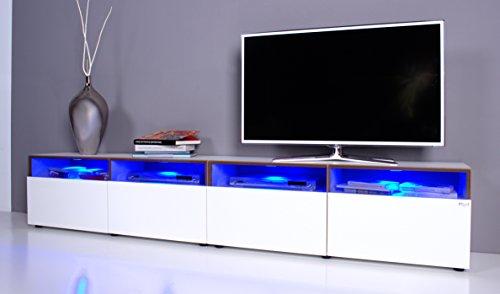TV Lowboard NOOMO # Fronten weiß Hochglanz inkl. RGB-Beleuchtung mit Fernbedienung