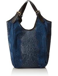 CTM El bolso de la mujer, bolso de mano en una verdadera bolsa de cuero italiano hecho en Italia, Animal Print Estilo 46x37x5 Cm