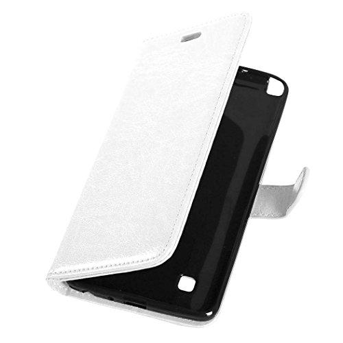 YHUISEN Solid Color Premium-PU-Leder-Mappen-Magnetic Buckle Design-Flip Folio Case Schutzhülle mit Kartensteckplatz / Stand für LG Stylus 2 / LG G Stylo 2 ( Color : White , Size : LG Stylus 2 ) White