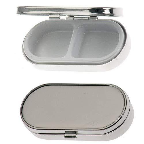 Pillendose 2 Fächer 3x6,5 cm Silber Plated versilbert. Hochwertiges und stabiles Produkt in Premium Verarbeitung