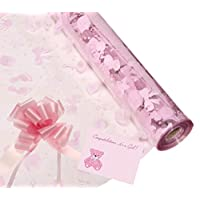 Baby Girl Cellophane Gift Wrap Hampers Florist Baby Shower + Free Pull Bow, Curling Ribbon & Card (1 Metre, Pink Ribbon, Cerise Pull Bow)