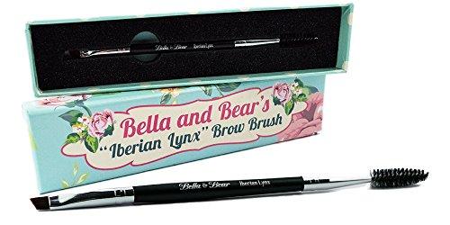 BELLA & BEAR 2-in-1 Augenbrauenpinsel | Augenbrauen- & Wimpernbürste | Ideal abgewinkelter Brauenpinsel | Kosmetik Pinsel Duo für perfekte Augenbrauen und Wimpern