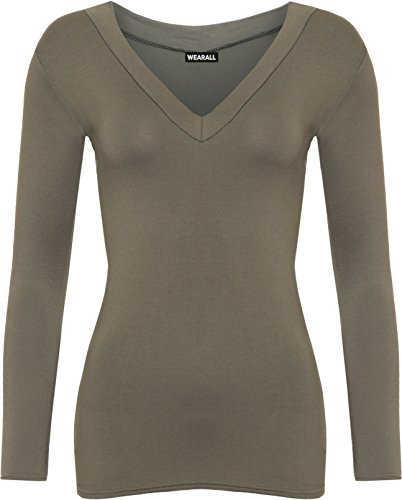 WearAll - Neu Damen V-Ausschnitt Elastisch Langarm Top - Khaki - 40-42 (Langarm-fashion-tee)