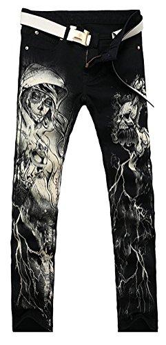 Chomay Herren Punk Stil Jeanshose Denim Röhrenjeans Bikerjeans Clubwear Skull Totenkopf Slim Fit Nr.Y026 Y027 Gr. W28 bis W36 Y027 Schwarz