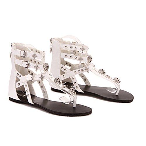 NiSeng Damen Hohl Flache Schuhe Sandalen Sommer T-Strap Flip Flop Schuhe Sandalen Weiß