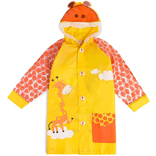 Lachi Kids Rainwear Raincoat Cartoon Children PVC Waterproof Raincoat Hooded Poncho Button Down with Bag