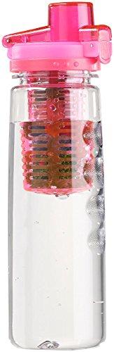 Obstflaschen: Tritan-Trinkflasche mit Fruchtbehälter, BPA-frei, 800 ml, pink (Wasserflasche mit Fruchtbehälter) ()