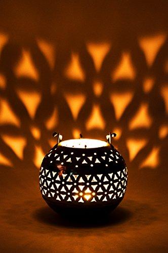 Orientalisches Windlicht Laterne orientalisch Hindi 13cm Silber Antik | Orientalische Vintage Teelichthalter Goldfarben innen und außen | Marokkanische Windlichter aus Metall als Ostern Dekoration