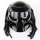 CAKUI Knallschwarzer Predator Motorradhelm, 4-Jahreszeiten-Universalmaske Mit LED-Beleuchtung...