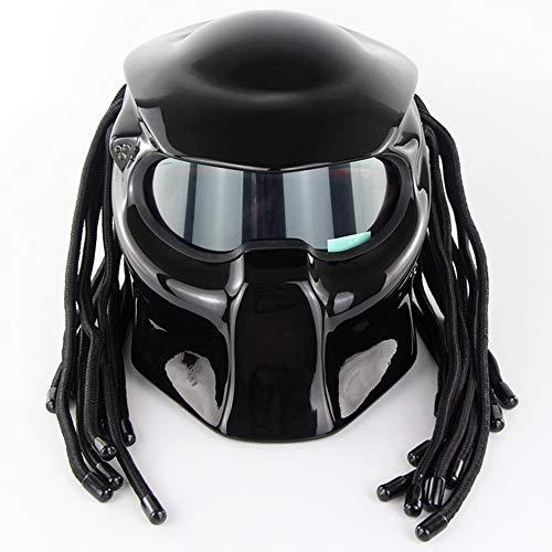 Predator Motorradhelm, 4-Jahreszeiten-Universalmaske Mit LED-Beleuchtung Integralhelm, DOT-Zertifizierter Helm,XL:59~60cm ()