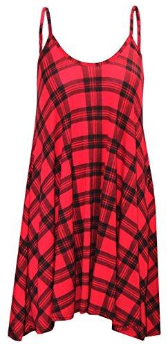 Fashion 4 Less Robe trapèze avec imprimé Taille 36 à 50. Rouge écossais