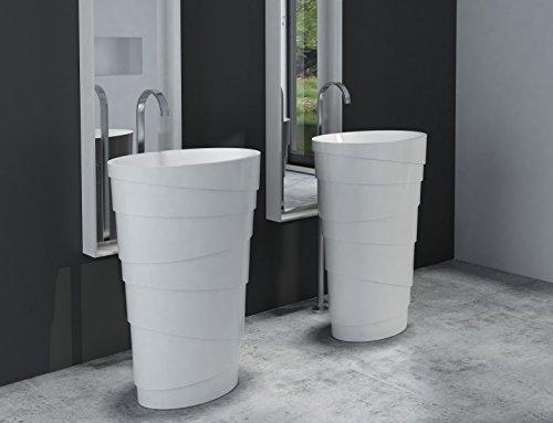 Bernstein Badshop Freistehendes Waschbecken aus Mineralguss PB2192 Athene Weiß - 60 x 40 x 90 cm - Solid Stone