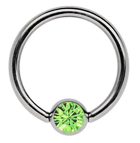 Ohrpiercing Titan Piercing Ring 1,2 x 10 mm mit Zirkonia Kugel in hellgrün Zirkonia Ringe In Titan