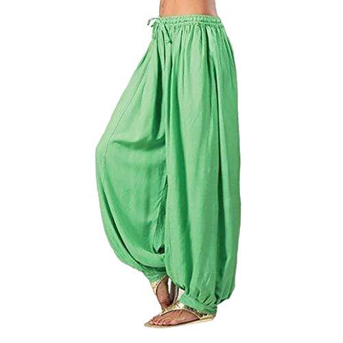 (Frau übergröße einfarbig beiläufig lose Haremshosen Yoga-Hose Frauen Hosen-Damen Leinenhose, leger geschnitten-yogahose Strecken Sporthose Freizeithose Casual Streetwear outdoorhos(Grün,2XL))