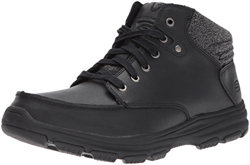 Skechers GARTON MELENO Mens Leather Lace Up Moccasin Boots Black UK 10