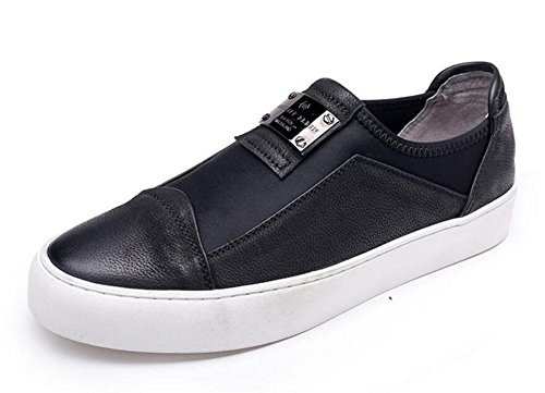 SHIXR Herren Oxfords Casual Flats Schuhe Neue Sportschuhe Loafer Schuhe Authentic Leder Schuhe Sommer Breathable Schuhe Black