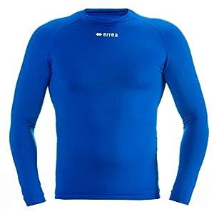 ERMES Funktionsshirt mit geringer Kompression (langarm) ideal zum Training beim Fußball, Running, Football, Rugby, Hockey u.v.m. · UNISEX Damen & Herren Unterziehshirt (Kompressionsshirt) aus Polyester-Stoff für Individual- & Teamsport von Erreà (blau, S/M)