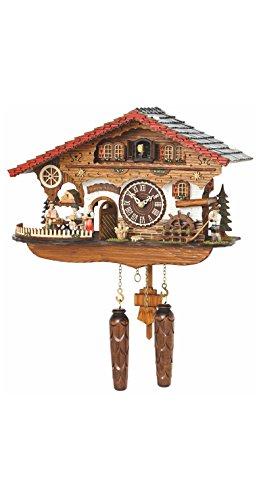 Trenkle orologio a cucù al quarzo casetta tipo foresta nera con uomo che beve birra e ruota del mulino in movimento, con musica tu 4210 qmt hzzg