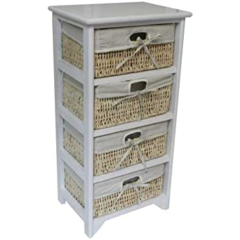 JVL 4-Drawer Wood Unit with Lined Maize Drawers, White, 38 x 27.5 x 76 cm