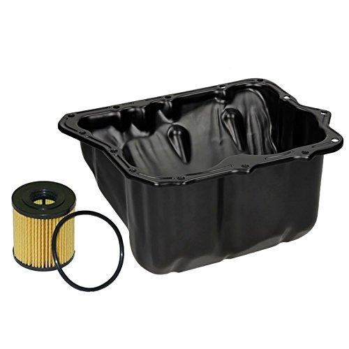 ECD Germany Ölwanne mit Ablassschraube inkl. Dichtring aus Stahl + Ölfilter Öl Filter