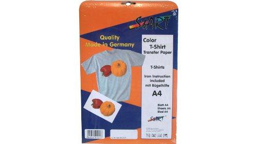 Start-Europe - 20 Blatt DIN A4 T-Shirt Folie für Tintenstrahldrucker, speziell für helle Stoffe