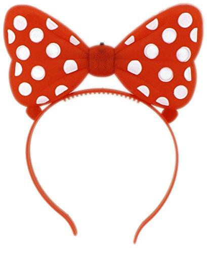 GYD Schleife LED Kinder Haarschmuck, auch für Fasching Karneval oder Kindergeburtstag (Rot) (Led Mickey Mouse Kostüm)