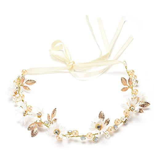 Msyou Headwear Strass Bandeau Daisy Motif Bandeau femmes filles Décorations de cheveux pour mariée mariage (Blanc)