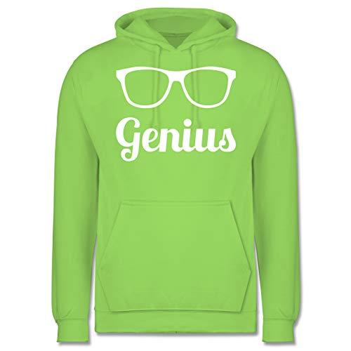 Shirtracer Nerds & Geeks - Genius Schrift mit Brille - weiß - XS - Limonengrün - JH001 - Herren Hoodie