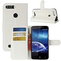 Leagoo Kiicaa Power Case, HualuBro Premium PU Leather Wallet Flip Phone Protective Case Cover with Card Slots for Leagoo Kiicaa Power Smartphone (White)
