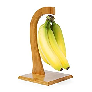 Relaxdays SHELDON Fruit And Vegetable Stand, 28.5 x 16 x 16, Decorative Banana Hanger, Bamboo, Natural Brown